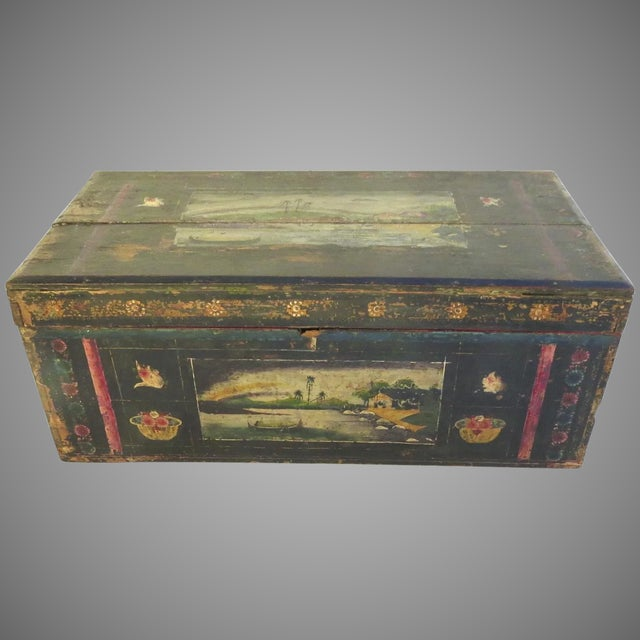 Dark Green 19th Century Olinala Guerrero Traditional Mexican Lacquered and Hand Painted Blanket Chest For Sale - Image 8 of 8