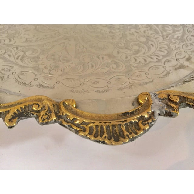 Moroccan Handcrafted Silver Round Tray With Brass Overlay Moorish Designs For Sale - Image 10 of 13