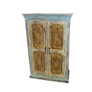 Indian Antique Sunrays Jaipur Yellow and Blue Chakra Carving Cabinet For Sale