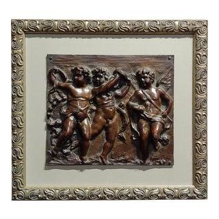 19th Century French 3 Dancing Cherubs Bronze Relief Plaque For Sale