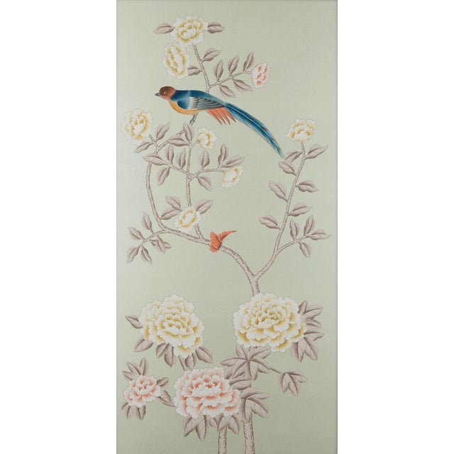 """Asian """"Chatsworth House"""" by Simon Paul Scott for Jardins en Fleur Hand-Painted Silk Diptych - a Pair For Sale - Image 3 of 4"""