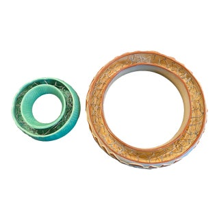 Vintage Ceramic Posy Rings - Set of 2 For Sale