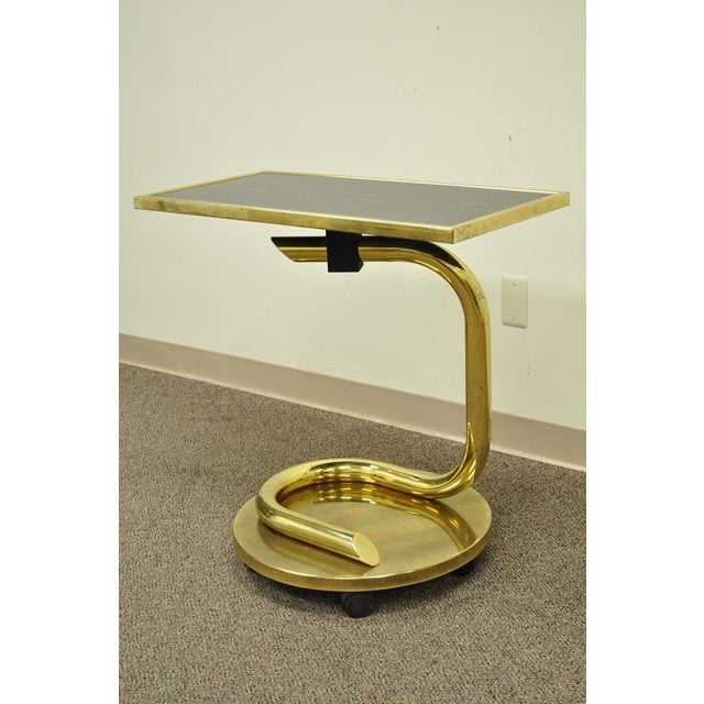 Gold Vintage Paul Tuttle Mid Century Modern Brass Revolving Tray Top Anaconda Side Table For Sale - Image 8 of 11