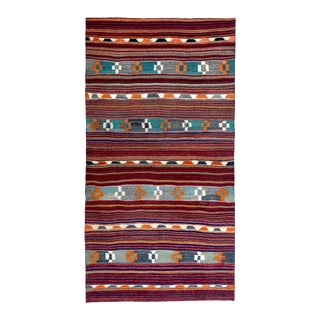 Modern Turkish Kilim Rug With Blue, Green & Orange Tribal Design in a Red Field For Sale