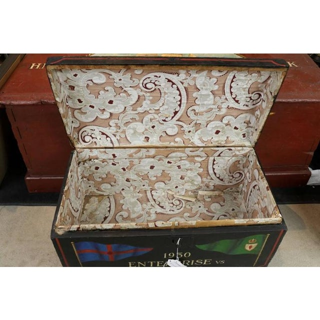 Nautical Painted Sea Chest With Dome Top For Sale - Image 3 of 4