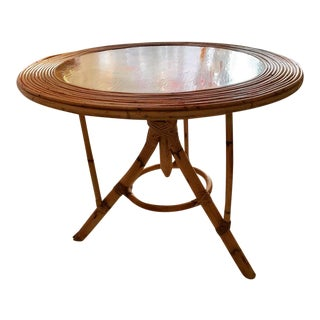 Rattan Coffee Table Round Paint French Riviera 1960