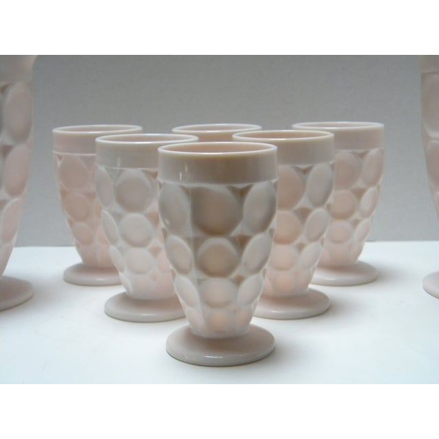 Mid-Century Modern Vintage Shell Pink Thumbprint Ware - Set of 8 For Sale - Image 3 of 4