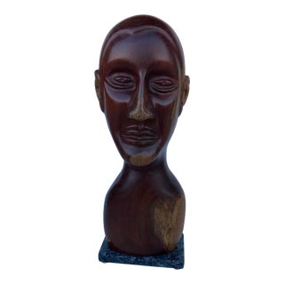 J. Terkiel Mid-Century Style Wood Carved Male Bust Sculpture