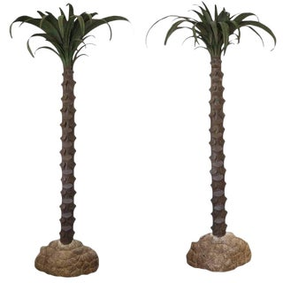 Large Pair of Tole Painted Palm Trees For Sale