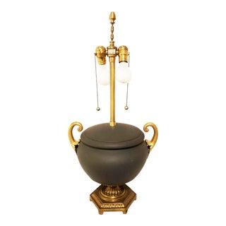 Vintage Marbro Dark Slate Gray Ceramic and Brass Table Lamp For Sale