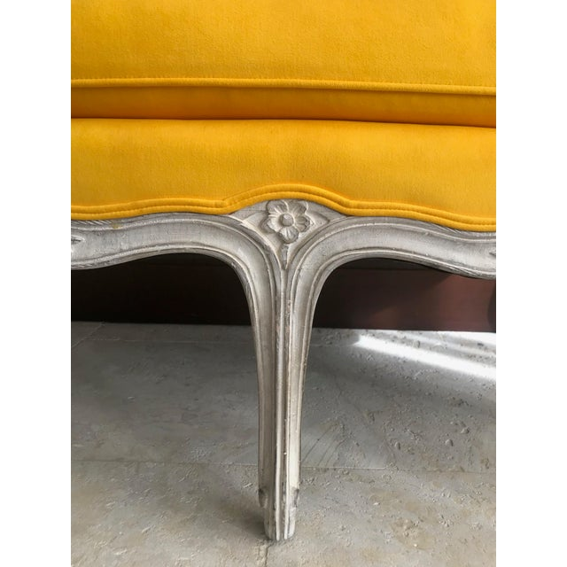 1900s Canary Yellow French Settee For Sale - Image 9 of 13