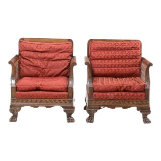 Edwardian Period Bergere Cane Chairs - a Pair