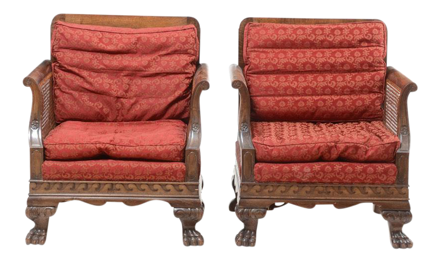 Edwardian Period Bergere Cane Chairs   A Pair