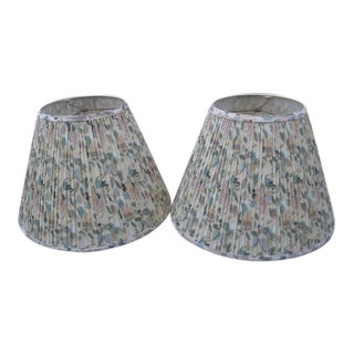 Spring Floral Pleated Fabric Shades in Muted Pastels - a Pair For Sale