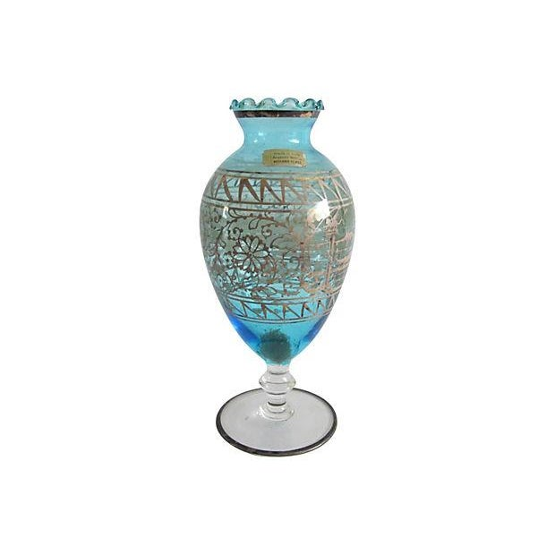 Teal Murano Glass & Gilded Sterling Vase - Image 4 of 4