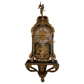19th Century French Gilt Tortoise Shell Clock With Base For Sale