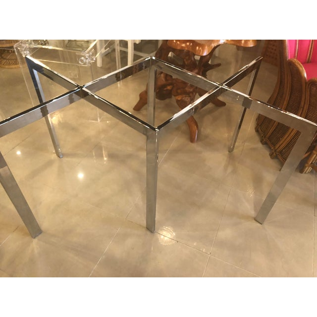 Hollywood Regency Vintage Milo Baughman Thayer Coggin Chrome Dining Table For Sale - Image 3 of 12