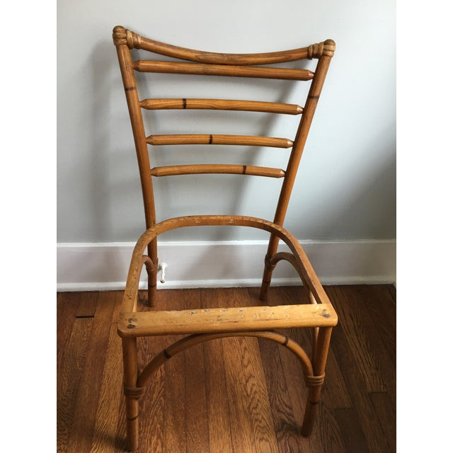 1940s Boho Chic Scorched Bamboo Accent Chair For Sale - Image 10 of 13