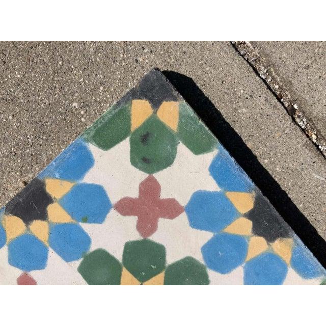 Concrete Moroccan Encaustic Cement Tile Border with Moorish Fez Design For Sale - Image 7 of 13