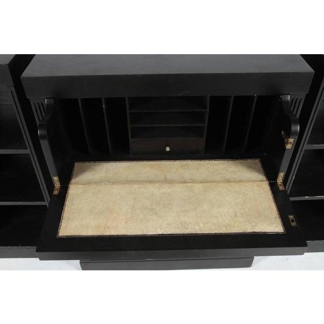 Hollywood Regency Ebonized Wood Bookcase Credenza For Sale - Image 4 of 4