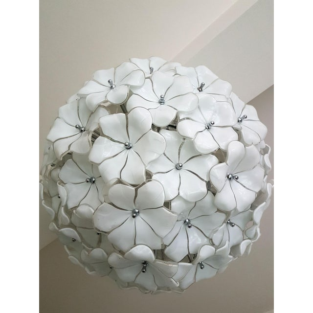 A.V. Mazzega Large Murano White Flowers Chandelier, by Mazzega, Mid Century Modern, 1970s For Sale - Image 4 of 7