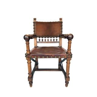 19th Century Renaissance Revival Leather Game of Thrones Style Armchair Preview