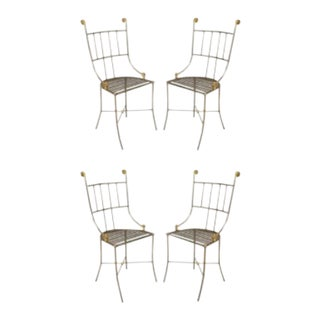Outdoor English Regency Brass Side Chairs - Set of 4 For Sale