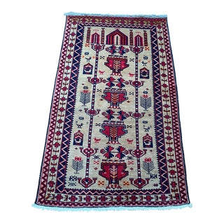 Vintage Tribal Hand-knotted Low Pile Anatolian Rug For Sale