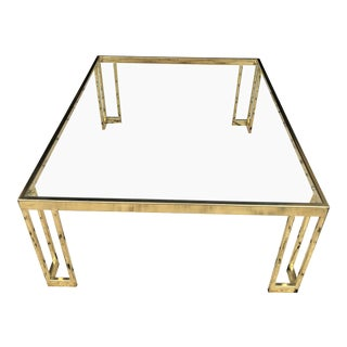 1960s Hollywood Regency Brass and Glass Coffee Table For Sale