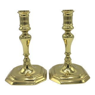 Williamsburg Collection Brass Candle Holders - a Pair For Sale