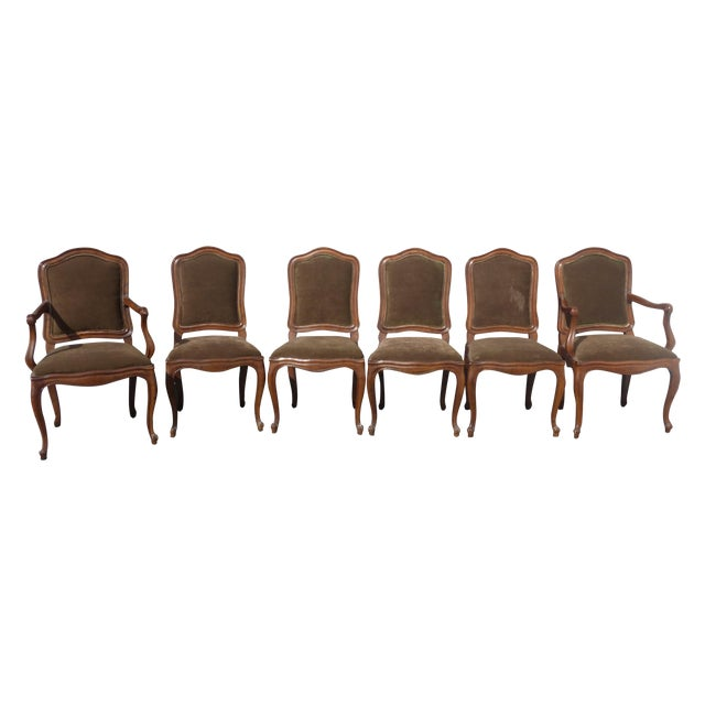French Henredon Mohair Dining Chairs - Set of 6 - Image 1 of 11