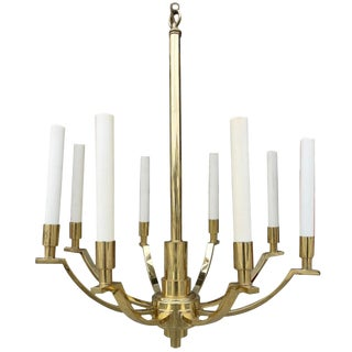 Mid-Century Frederick Cooper Modernist 8-Arm Solid Brass Chandelier For Sale