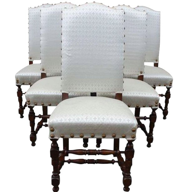 Early 20th Century Vintage Jacobean Spanish Style Dining Chairs- Set of 6 For Sale