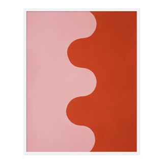 "Medium ""Hairpin Serpentine in Fire Coral & Soft Pink"" by Stephanie Henderson, 32"" X 40"""