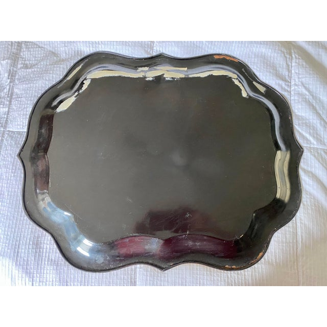 1920s 1920s Vintage Tole Chinoiserie Mother of Pearl Inlaid Hand-Painted Tray For Sale - Image 5 of 9