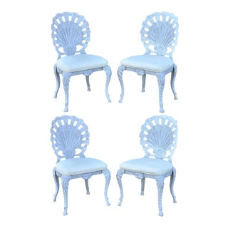 4 Vintage Pulaski Hollywood Regency Cast Iron Shell Grotto Patio Dining Chairs For Sale