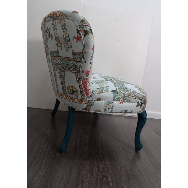 Traditional Vintage Pavilion Garden Fabric Settee For Sale - Image 3 of 5