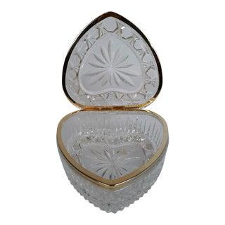 Vintage Crystal Heart Shaped Ormolu Hinged Jewelry Box For Sale