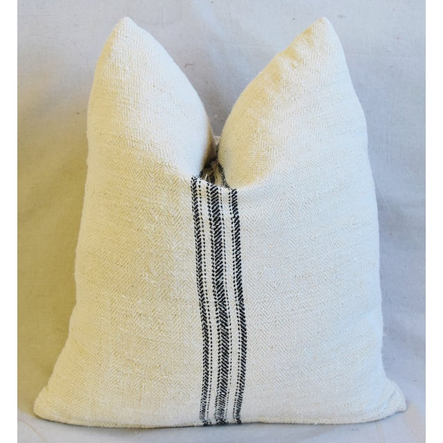 """Early 21st Century French Woven Black Striped Grain Sack Feather/Down Pillows 20"""" X 21"""" - Pair For Sale - Image 5 of 12"""
