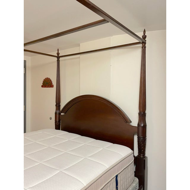 Bombay Company Mahogany Four Poster Bed With Canopy For Sale - Image 4 of 10
