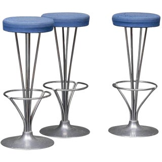 Fritz Hansen Danish Modern Blue Bar Stools - Set of 3 For Sale