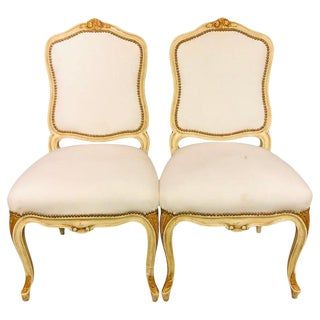 Labeled Jansen Fine Pair of Oversized Side or Desk Chairs in Parcel Gilt Paint For Sale