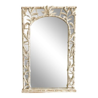 Vintage Italian Carved Wooden Faux Bamboo & Palm Leaf Mirror For Sale