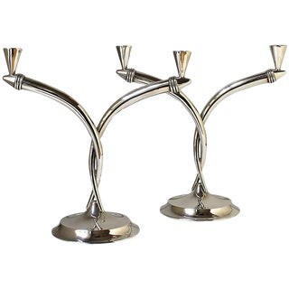 1930s Pair of Art Deco Silver Candelabra, 2 Branches, Spain For Sale