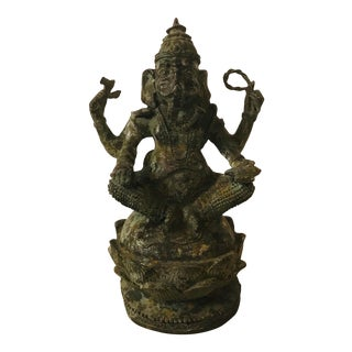 Late 18th Century Antique Bronze Sculpture Hindu Lord Ganesha For Sale