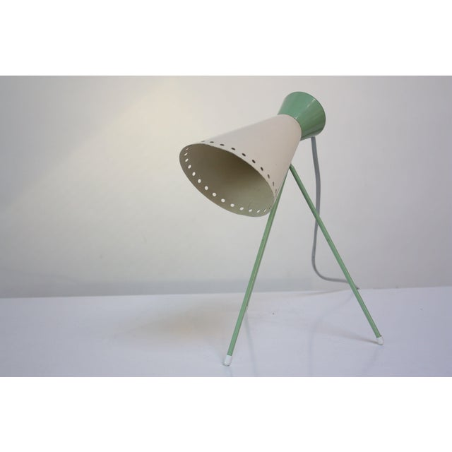 Industrial Mint Green Tripod Table Lamp by Josef Hurka for Napako For Sale - Image 3 of 13
