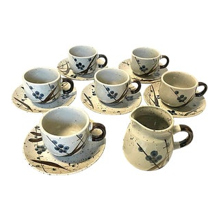 1970s Stoneware Coffee/Tea Set - Service for 6 For Sale