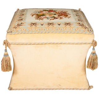 Victorian Style Needlework and Upholstery Ottoman For Sale
