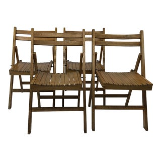 Vintage Wood Folding Slat Chairs - a Set of 4 For Sale