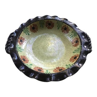 19th Century Jaspe Pie Plate Hand Painted With Floral Motif For Sale